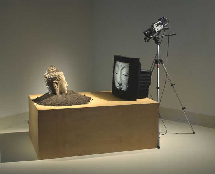 VMFA Buddha Watching TV sculpture by Nam June Paik