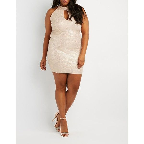 Charlotte Russe Mock Neck Open-Back Dress ($19) ❤ liked on Polyvore featuring plus size women's fashion, plus size clothing, plus size dresses, rose gold, party dresses, plus size going out dresses, body con dresses, petite party dresses and women plus size dresses