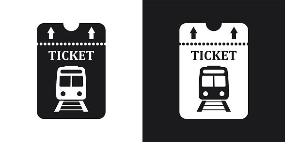 Vector Train Ticket Icon Two Tone Version On Black And White Train Illustration Icon Train Tickets