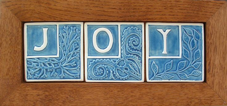 Three Framed Tile that spell JOY in blue and white, Holiday decor ,Horizontal by FayJonesDayTile on Etsy