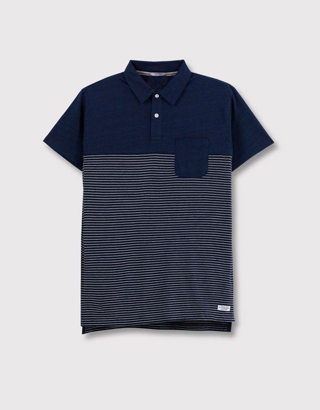 Pull&Bear - homme - t-shirts - polo maille à rayures avec poche - bleu - 05202500-V2016