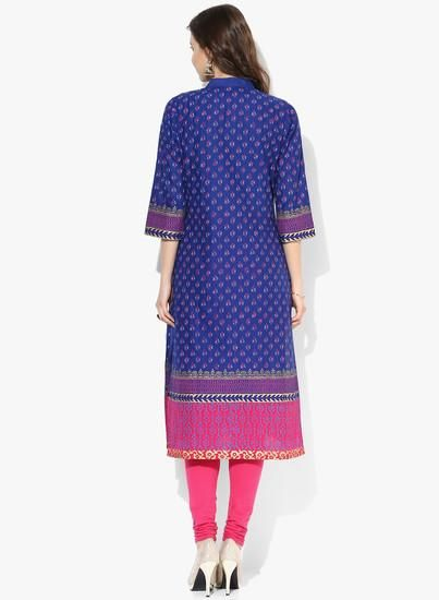 LadyIndia.com # Kurtas, Fabulous Floral Cotton Printed Blue Kurti For Women, Kurtis, Kurtas, Cotton Kurti, https://ladyindia.com/collections/ethnic-wear/products/fabulous-floral-cotton-printed-blue-kurti-for-women