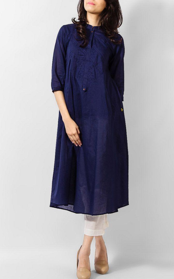Navy Blue Linen Kurta by