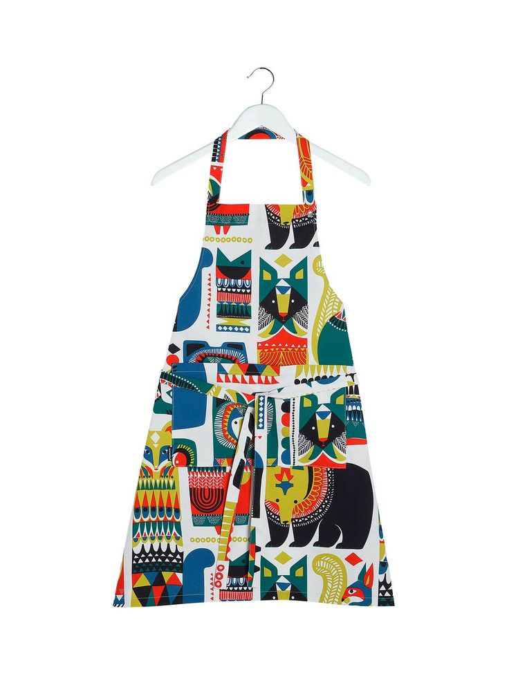 Kukkuluuruu apron (grey, green, blue, red) | Décor, Kitchen & Dining, Textiles, Esiliinat | Marimekko