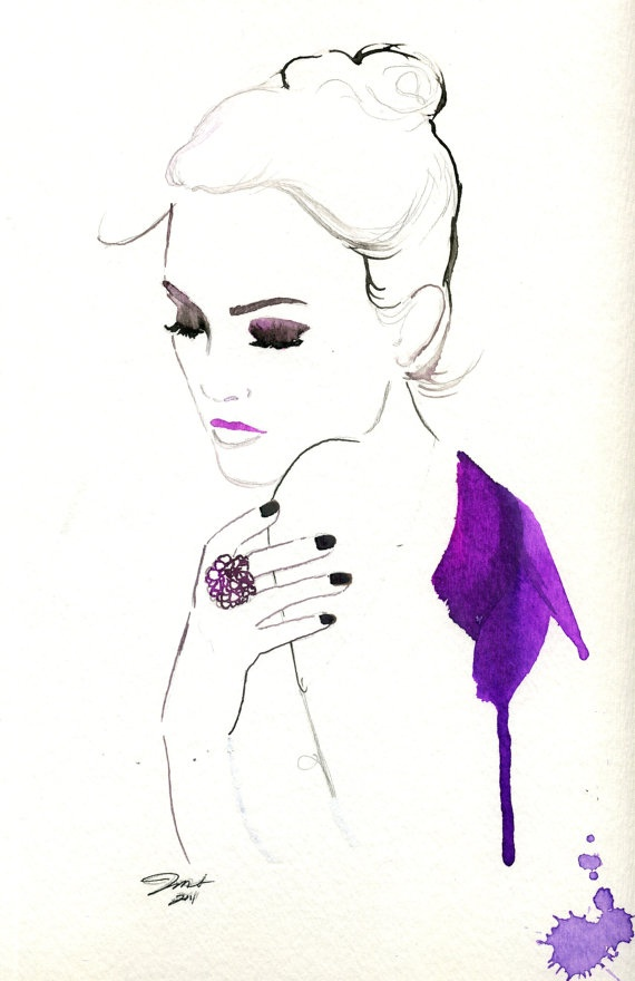 My Favorite Things, #watercolor #fashion #illustration www.jessicaillustration.etsy.com