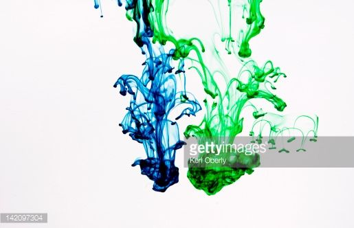 Stock Photo : Food coloring makes abstract patterns in water, Lake Tahoe, California.