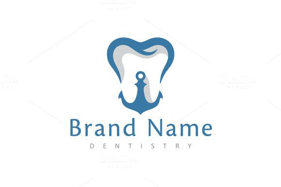 For sale. Only $29 - blue, memorable, modern, creative, sea, ocean, water, marine, coastal, firmness, stability, smile, dental, molar, hook, implant, tooth, anchor, dentist, clinic, beauty, harbor, medical, negative space, logo, design, template,