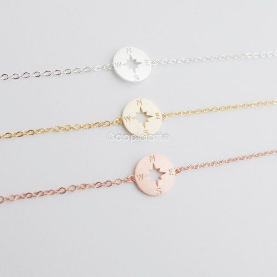 tiny & simple compass bracelet compass bracelet, dainty bracelet, camping jewelry, hiking jewelry. compass charm, compass pendant ★pendant