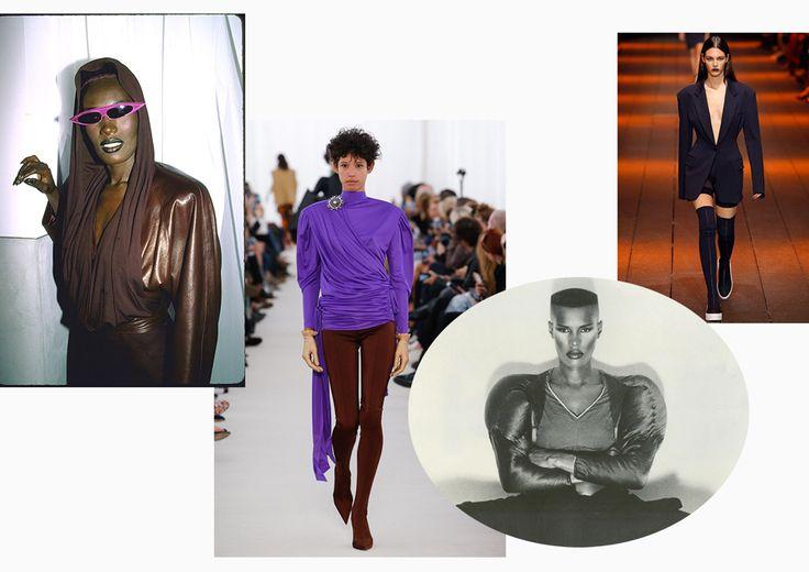 Грейс Джонс, 80-е; Balenciaga, DKNY