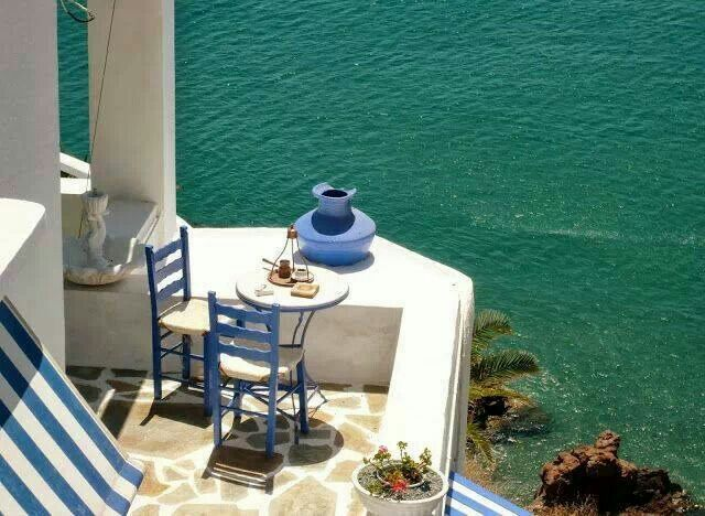 Beautiful balcony in Anafi island