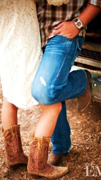 cowboy boots with your dress, perfect for wedding in a barn!