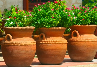Tinajas como jardineras