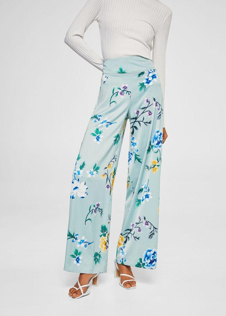 Satin palazzo trousers -  Women | MANGO USA