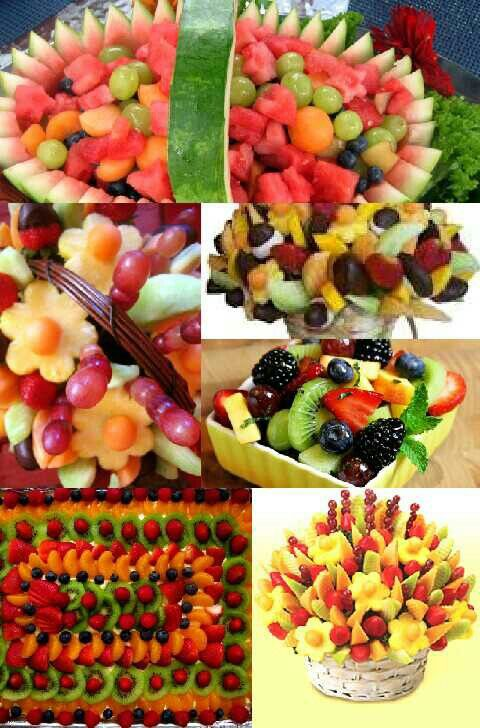 Fresh Fruit Baskets, Watermelon,kiwi,strawberries,raspberries,pinnapple,oranges, grapes,cannolope,honey dou, designed into some beautifly edible.