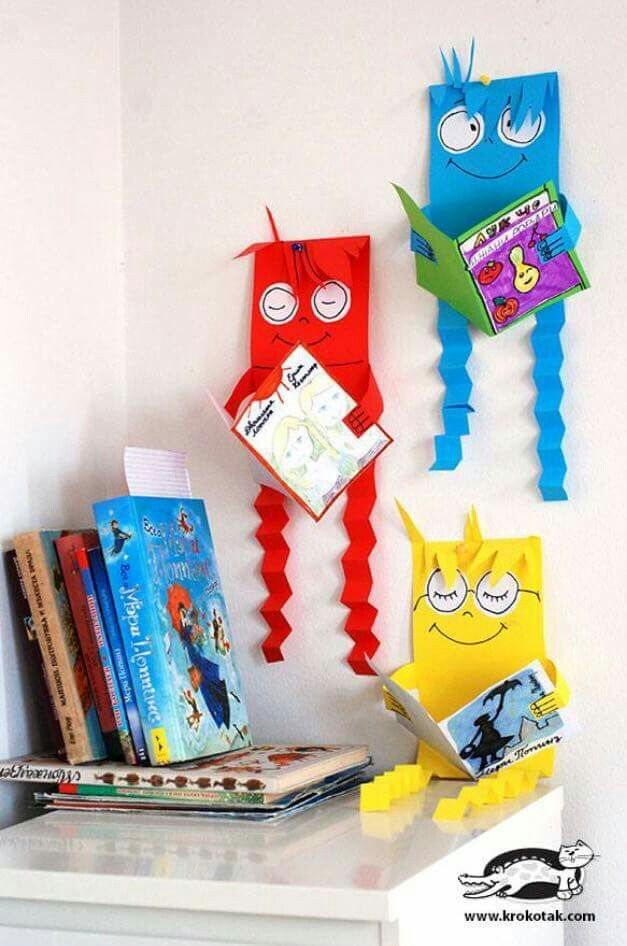 Reading monsters ideer pinterest ideer for Library painting ideas