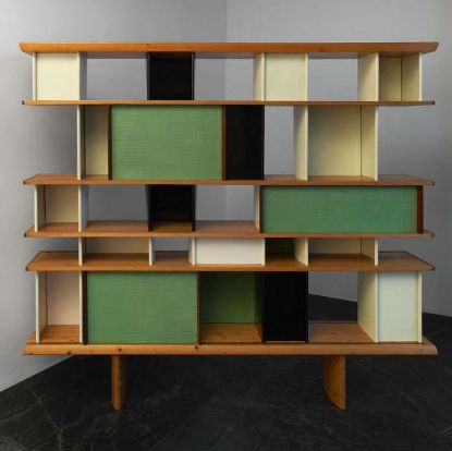 Bibliothèque, from La Maison du Mexique, Cité Universitaire, Paris, Manufactured by Les Ateliers Jean Prouvé, France. Designed by Charlotte Perriand and Jean Prouvé, c.1952