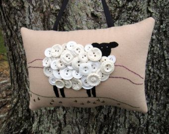 St. Patricks Day Decor, Ireland Sheep Primitive Embroidery Pillow, OOAK Door Hanger, White Vintage Buttons, Irish Sheep Decoration, HAFAIR