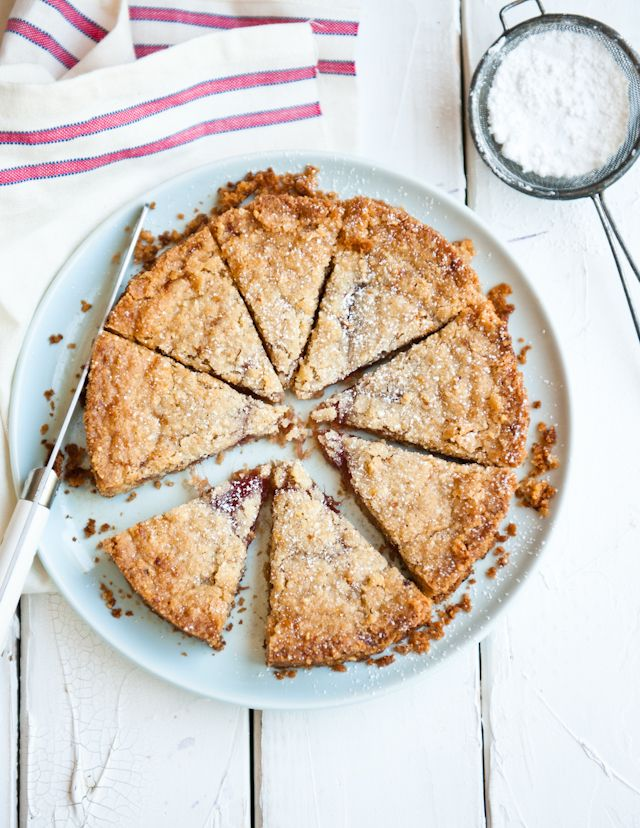 Rhubarb Jam Tart.  In addition to ground almonds, the crust also has a dash of lavender, cardamom, and lemon zest, which adds a sweet complexity alongside the tart rhubarb jam filling.