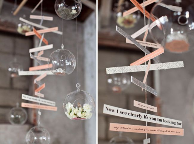 via green wedding shoes, photo credit: Leah Lee Photographyand styling byGATHER Events and Occasions: Message, Wedding Ideas, Wedding Decorations, Eloquent Wedding, Note Mobiles, Decoration Idea, Celebration Weddings, Paper Mobile, Song Lyrics