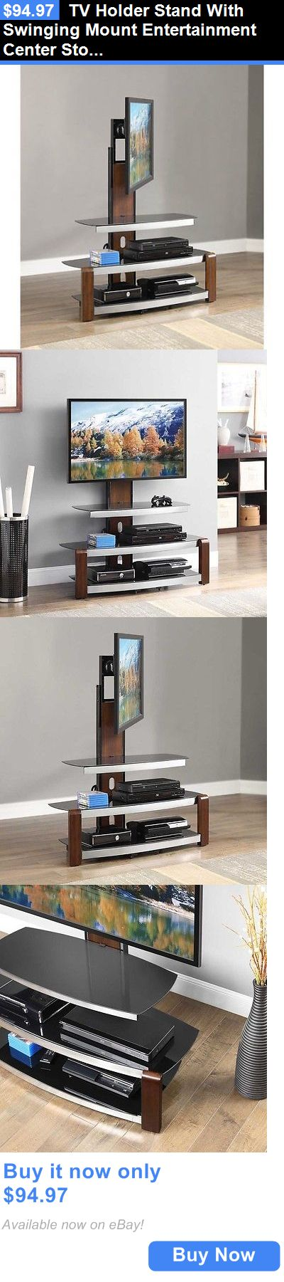 Entertainment Units TV Stands: Tv Holder Stand With Swinging Mount Entertainment Center Storage Glass Top Brown BUY IT NOW ONLY: $94.97