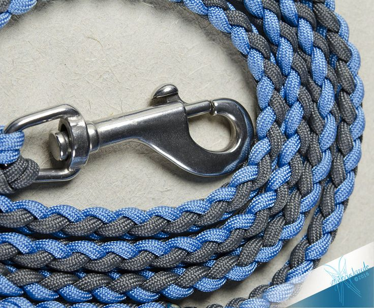 6 1/2 feet - Standard Paracord Dog leash - 4 strands - Stainless steel - Heavy Duty - Baby Blue and Charcoal Grey
