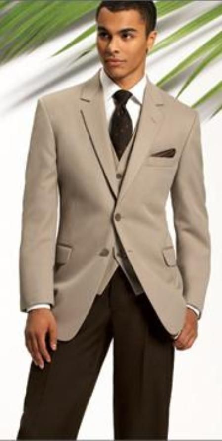SKU#MASH2 Beige~Tan 2 Btton Jacket + Brown Pants (Wedding Suit(As Seen in Wedding Magazins) $175 Mens Discount Suits By Style and Quality 2 Button Suits