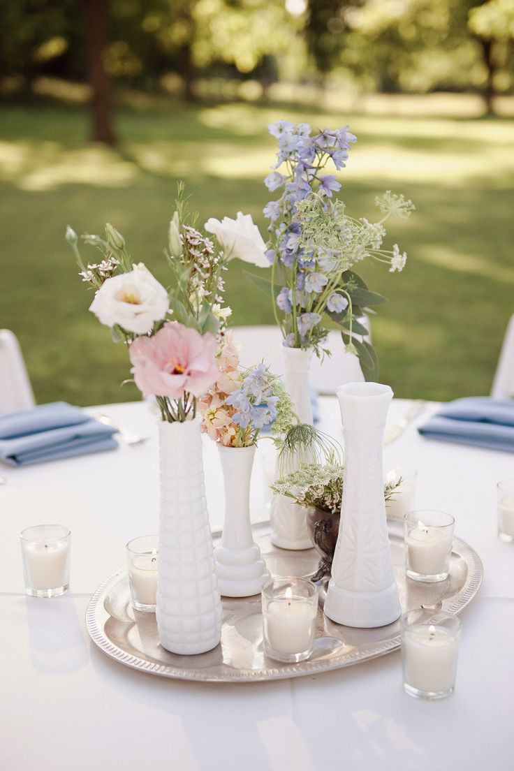 French Country Inspired Farm Wedding - milk glass table decor - Marie Antoinette wedding   Read more - http://www.stylemepretty.com/georgia-weddings/2013/08/01/french-country-inspired-farm-wedding-from-christopher-helm-photography/: