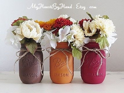 SALE: Fall Mason Jars Fall Centerpieces Autumn by MyHeartByHand