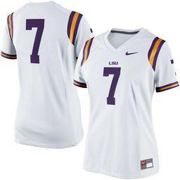 Women's Nike No. 7 White LSU Tigers Game Replica Football Jersey