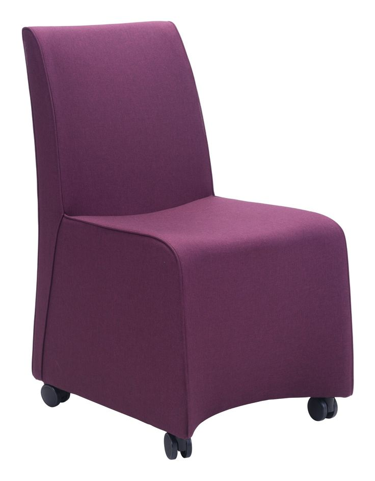 Whittle Dining Chair in Purple Fabric on Casters (Set of 2)