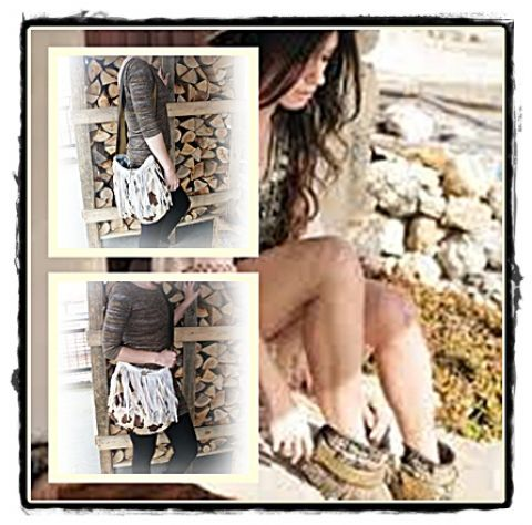 bohém táska, Ruha, divat, cipő, Táska, Baba-mama-gyerek, Válltáska, oldaltáska, Bohém stilusban készült ez a rojtos táska...Szörnés anyagból,bélelt,egy bambusz gombbal zár..., Meska