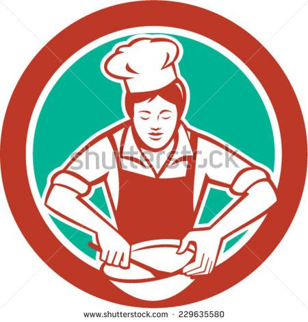 Illustration of a female chef with hat holding spatula and mixing bowl mixing viewed from the front set inside circle on isolated background done in retro style.  - stock vector #mother #retro #illustration