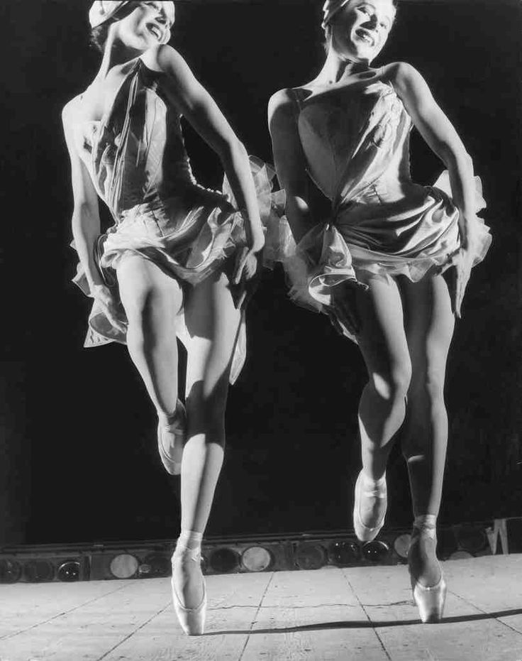 "Micheline Grimoin and Josette Amiel performing ""La Belle Hélène,"" at the Paris Opéra, 1955. Photo by Willy Rizzo"