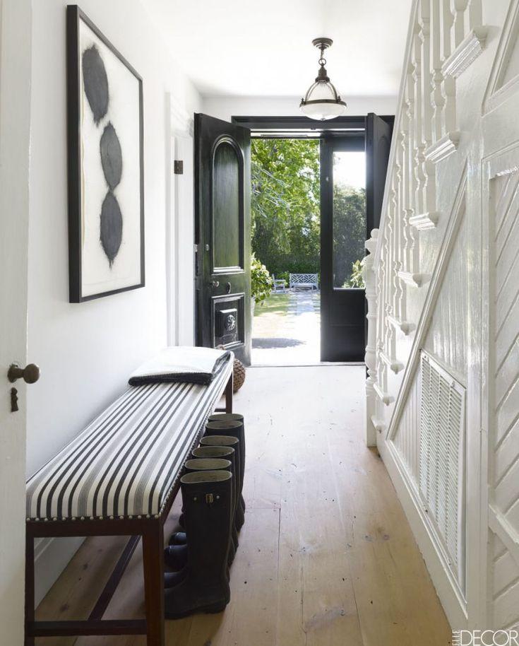 Light Natural Oak Floor Hallway | Painted Paneling Hallway |