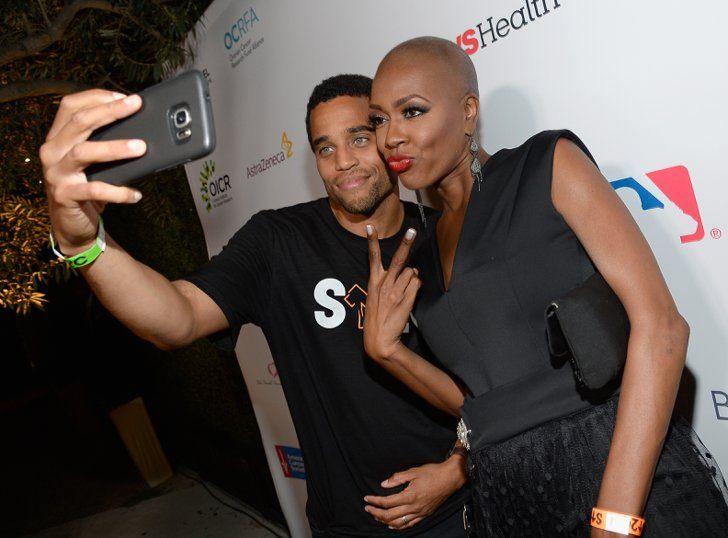 Les Célébrités S'unissent Contre le Cancer Michael Ealy et la patiente Trina Isaacs