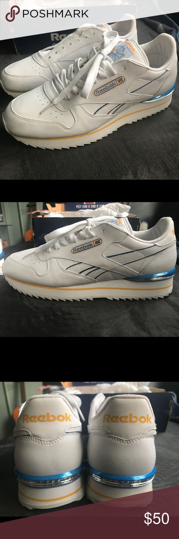 🔥Brand new Reebok Classics🔥 Brand new leather Reebok classics  The colors are white yellow blue and chrome great for you golden state fans 🏀 They're new in the original box (can double box if requested) clean pair of shoes just not my size  You can tell the nice quality from the pics Reebok Shoes
