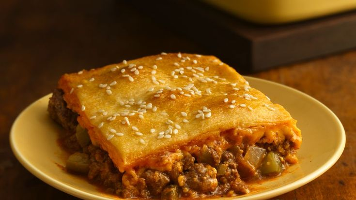 Combine your favorite burger toppings in a convenient casserole, and top with flaky pastry.
