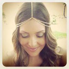 nieuwe mode verguld 2015 hoofd stukken ketting vrouwen boho hoofddeksel metalen ketting hoofd wrap hoofdband haar sieraden groothandel(China (Mainland))