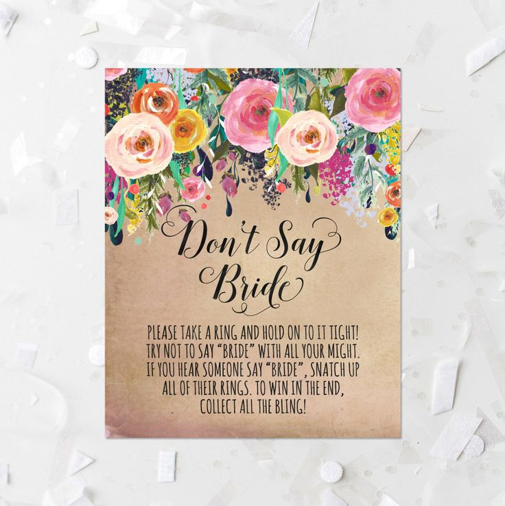 Bridal Shower Don't Say Bride Game Printable Pink Floral Shower Game Antique Bridal Shower Activity Grunge Watercolor Floral Table Sign 216 by MossAndTwigPrints on Etsy