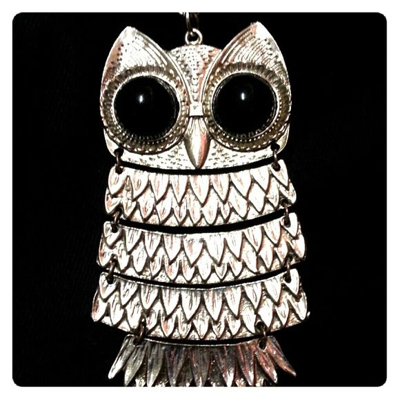 """Silver Owl Necklace.                          NWOT Flexible link owl pendant with chain measuring approx. 18"""" L, the owl is approx.  3.5"""" L x 2"""" W. NEVER WORN! This piece looks gorgeous when coupled with black outerwear. Jewelry Necklaces"""