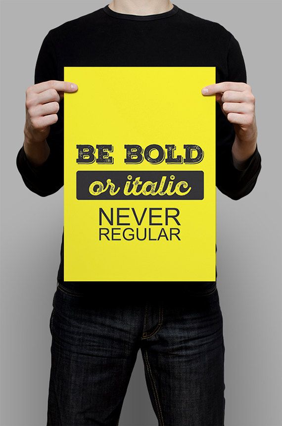 #Be #Bold #Italic #Print #Digital #Download #Printable #Home #Decor #Poster #Typography #Inspirational #Quote #Art #Erhico #Design