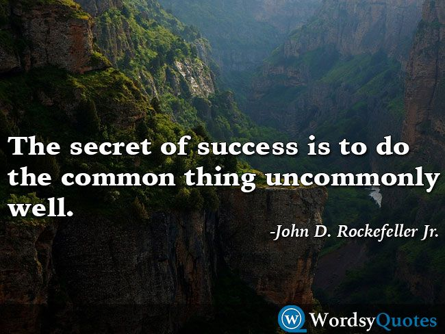 The secret of success is to do the common thing uncommonly well. -John D. Rockefeller Jr. - Quotes about success #quotes #picturequotes #quotesoftheday #QOTD #wordsyquotes #success #successquotes #successquote #successfulquotes #successfulquote