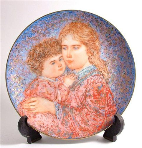 Edna Hibel Plates. Knowles Edna Hibel Mothers Day plate for 1985 Erica and Jamie CP325.  #edna #hibel #plates #ednahibel #hibelplates