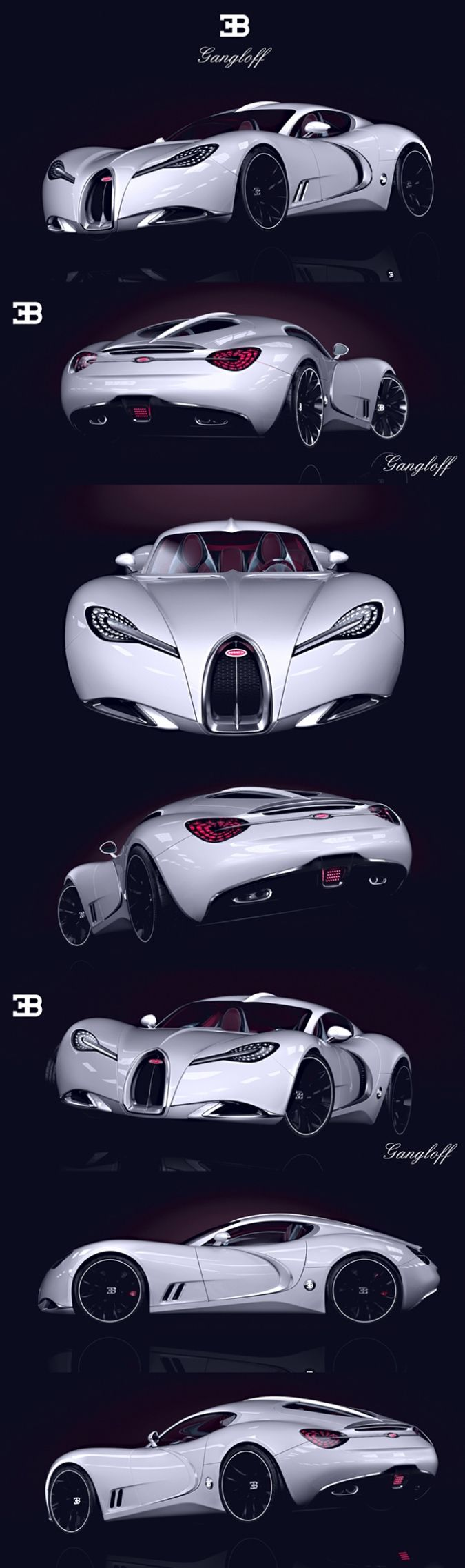 Pawel Czyzewski Supercar Concept Bugatti Gangloff - Front, Side, Back View Pictures