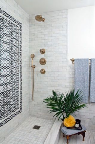 "Not gold, not silver, not even copper...but ""glover."" Looks like an antique gold really. Love the tiles in this bathroom and the open feel."