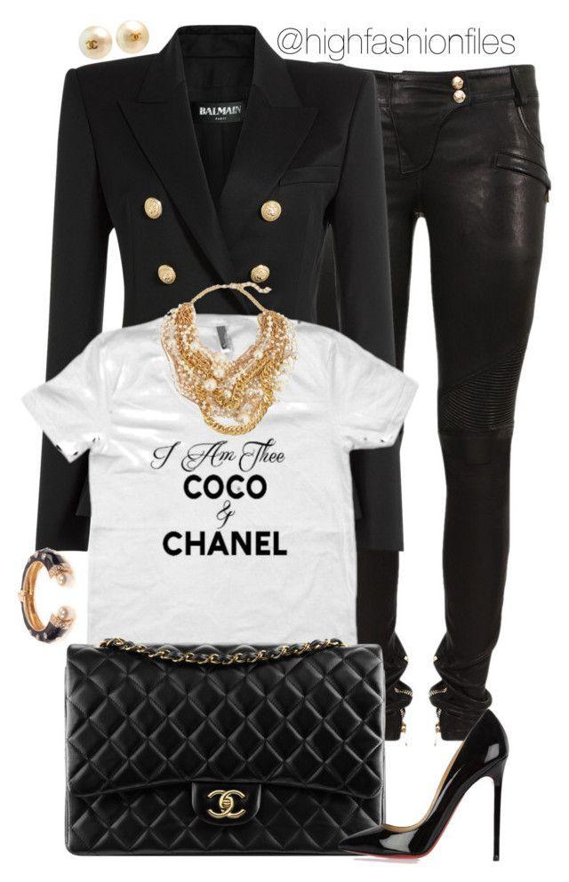 """Boss Lady"" by highfashionfiles ❤ liked on Polyvore featuring Balmain, Oscar de la Renta, Chanel, Christian Louboutin, Amrita Singh, Kenneth Jay Lane, women's clothing, women, female and woman"