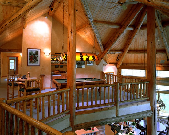 Loft in log home. #Family Room/Log Homes Design