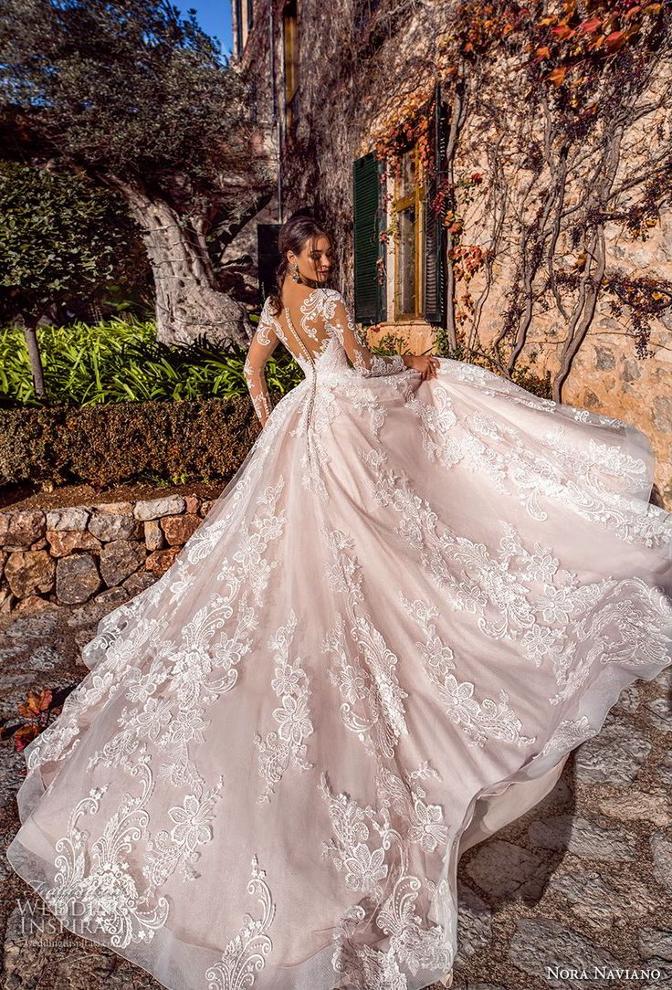 nora nobiliano 2019 bride long sleeve swee theart neckline full embellishment princess romantic ball gown a line wedding dress sheer button back royal train (5) bv