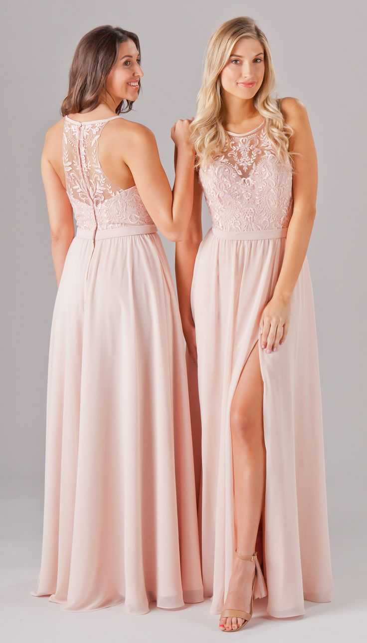 Embroidered lace bridesmaid dresses are perfect for a mix-n-match look. Your 'maids will love these embroidered-top styles featuring long chiffon skirts and a variety of necklines! Available in 15+ colors. Featured in Blush. | Kennedy Blue