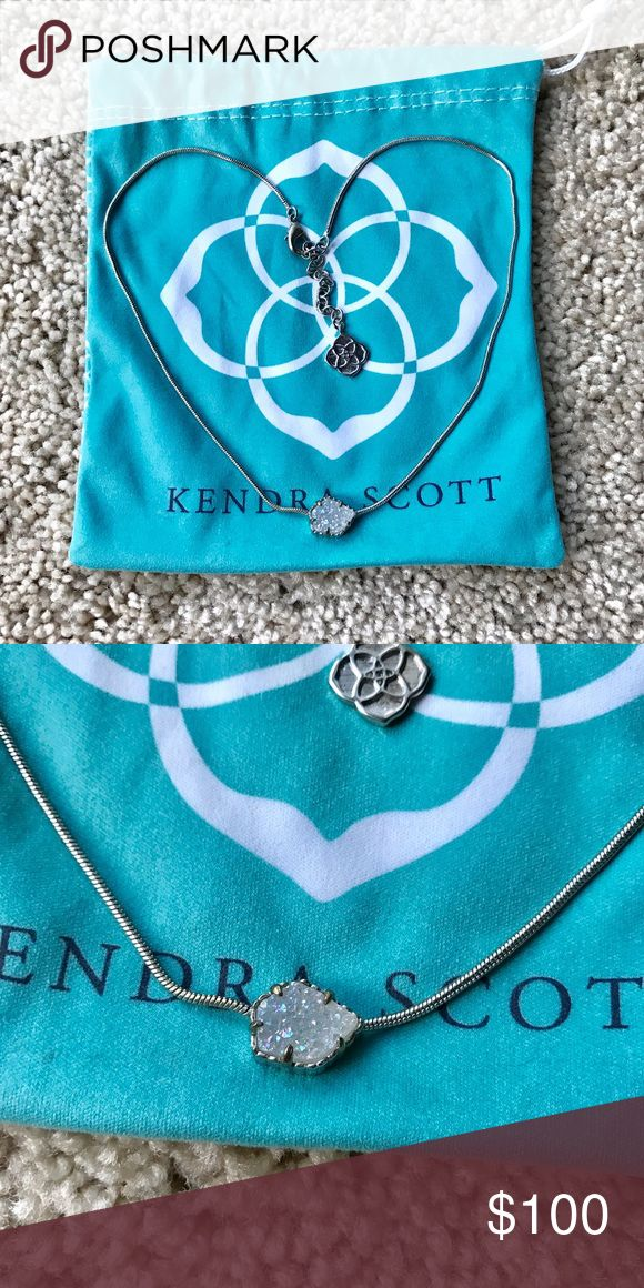 Kendra Scott Mara Iridescent drusy necklace NWOT Kendra Scott Mara rhodium iridescent druzy necklace. Still deciding if I want to sell it. Make me an offer! ❤️ rare find! Kendra Scott Jewelry Necklaces